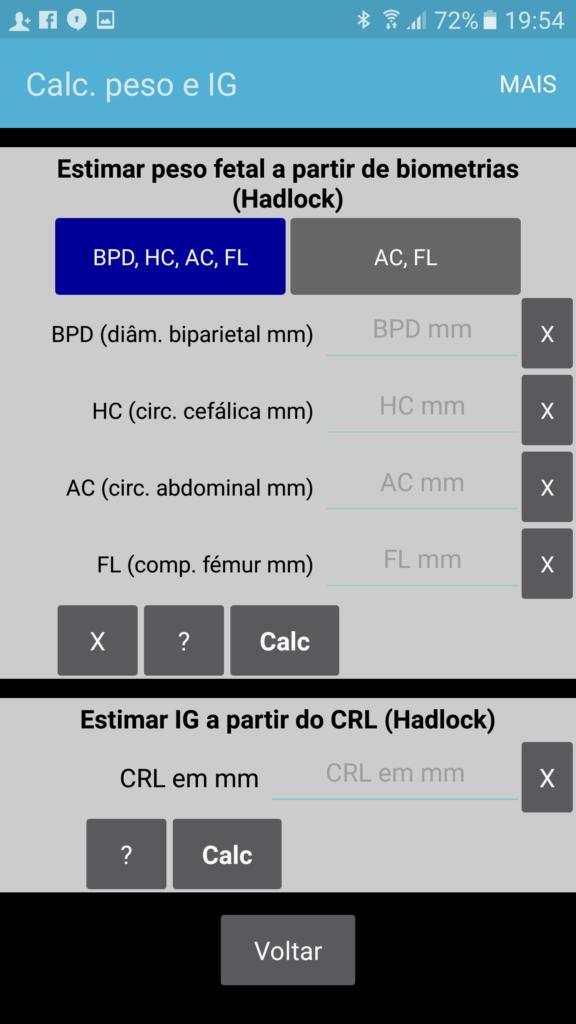 IG Calc PT página de cálculos adicionais