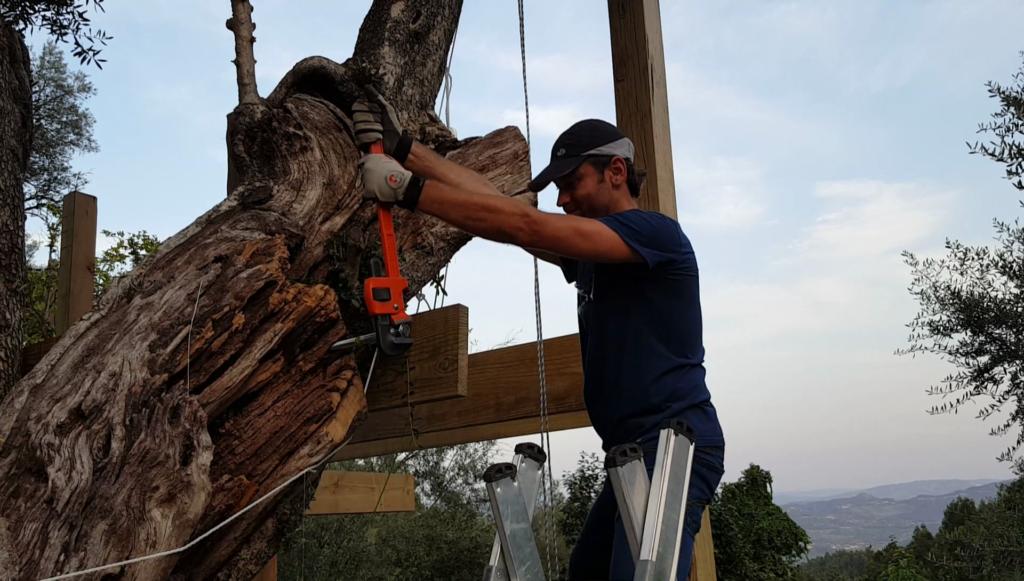 Apertar fixação na árvore; chave stillson, chave de tubos, grifo